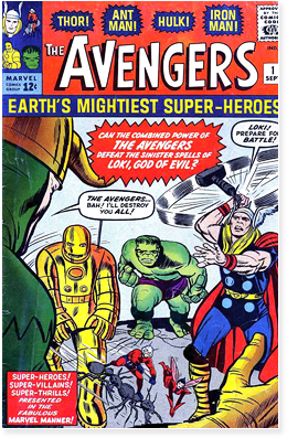 Cover of Avengers issue 1, published by Marvel Comics in 1963.