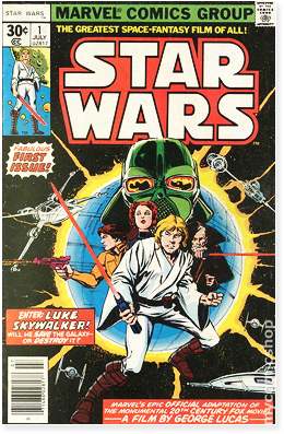 First issue cover of Marvel's Star Wars adaptation, from 1977.