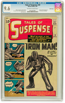 Tales of Suspense issue 39, in CGC 9.6 condition. The origin and first appearance of Iron Man.