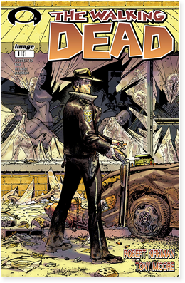 Cover of the first issue of The Walking Dead, written by Robert Kirkman and published by Image Comics.